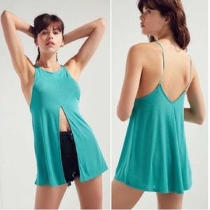 UO Silence + Noise Turquoise Split Front Top Small